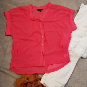 Coral pink and gold button Top Shop blouse size 2